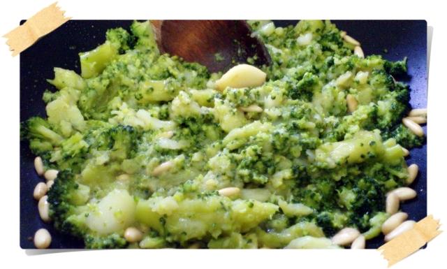 preparazione crema di broccoletti